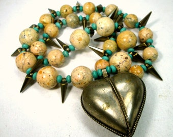 Long Brass Heart Necklace, Tribal Spikes with Tan Desert Jasper and Turquoise Disc Beads, Natures Bounty, Recycled Ecochic Beads