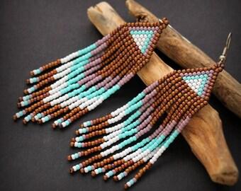 Boho seed bead earrings Long dangle beaded earrings Beaded fringe earrings Hippie Ethnic earrings Colorful jewelry Large bohemian earrings