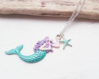 Mermaid necklace. Mermaid jewellery Mermaid jewelry. Handpainted Mermaid necklace mermaid accessory Mermaids are real mythical mermaid scale