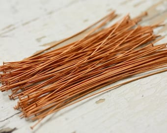 "3"" Solid Copper 22g Headpins Rounded Flat 2mm Heads - 100 pieces Head Pin, Findings"