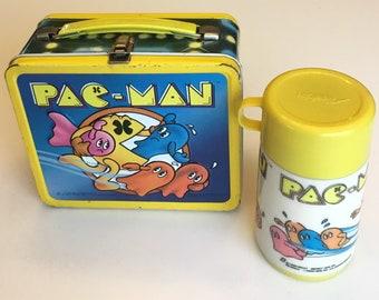 Vintage Pac Man Video Game Arcade Lunchbox Tin Bally Midway Aladdin 1980