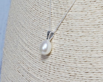 White Freshwater Pearl Drop Pendant ~ 925 Sterling Silver Chain ~ Pearl Drop ~ Genuine Pearls ~ June Birthstone ~ Bridal ~ Christmas Gift