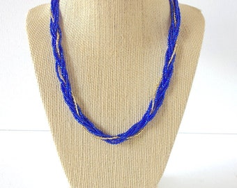 Blue necklace,beaded necklace, seed bead necklace,bridesmaid necklace,16 inch necklace,braid necklace,blue and gold necklace,boho chic gift