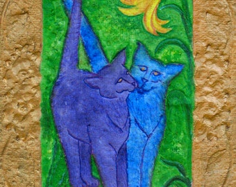 Purple cats, spring flowers, cat portraits, gilded frame, fantasy landscapes, recycled paper, sculpted paper, paper mache