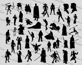 Digital SVG PNG jedi, darth vader, luke skywalker, yoda, han solo, star wars inspired clipart, vector, silhouette, instant download