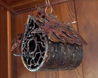 Copper Hanging Oak Bird House