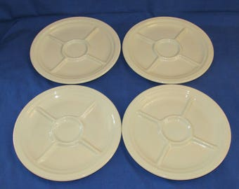SYRACUSE CHINA Econo-Rim Commercial Divided Compartment Set of 4 Ivory/Parchment Plates 1940s & Portion plate   Etsy
