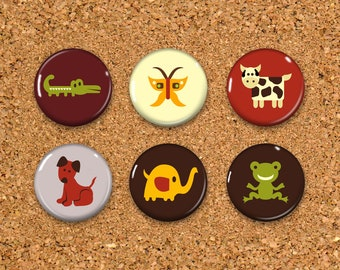 Alligator Thumbtacks, Butterfly Push Pins, Cow Magnets, 6 thumbtacks for corkboard, 6 Magnets for Magnetic Whiteboards or fridge 1""