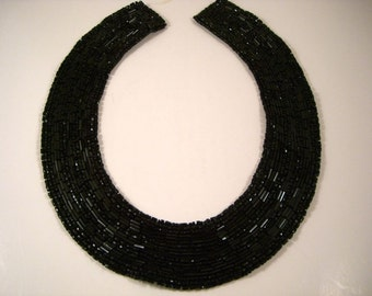 Black Beaded Collar--One Piece