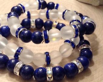 Stackable Lapis & Quartz Bead Bracelets