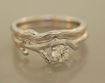 Bud Branch Set with 5 mm moissanite,14karat white gold, alternative wedding ring, engagement ring, twig moissanite ring,