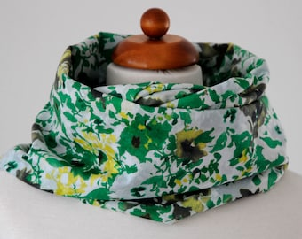 Scarf Loop scarf cotton flower expressive white olive lemon green infinity scarf