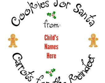 SVG - Cookies for Santa Plate Edge - Cookie Plate Design - Christmas Plate Design - Carrots for the Reindeer - Gingerbread Man - Santa