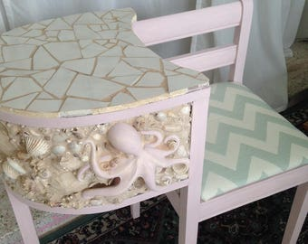 Delicieux Nautical Mozaic Chair And Desk With Octopus Motif And Real Shell