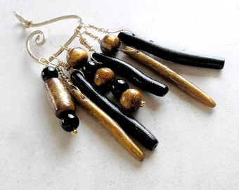 Gold Black Coral Pendant Asymmetrical Avant Garde Jewelry Black Onyx Metaphysical Healing Stones
