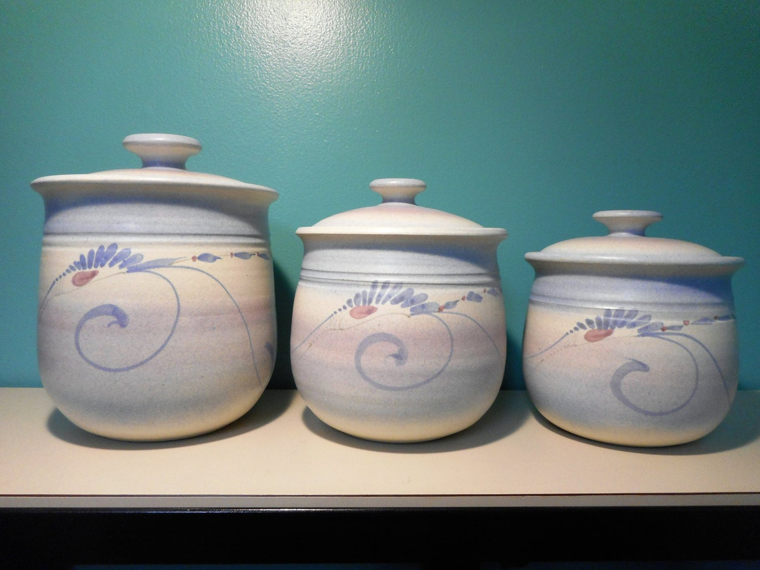 Signed Westlin Studio Pottery Set of 3 Canisters with Lids /