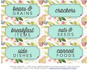"Vintage Aloha ""Bins and Containers"" Pantry Labels Collection - Printable PDF"