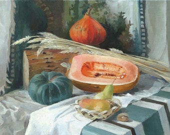 Still life painting. Painting for dining room. Kitchen art. Original realistic art.