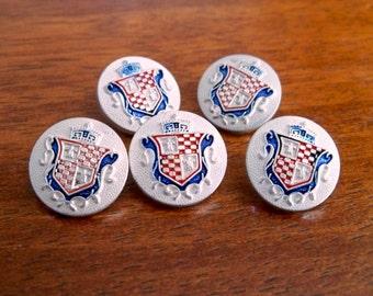 Vintage Metal Shield Buttons - Set of Five