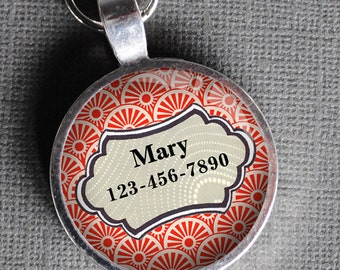 Pet iD Tag light coral red patterned colorful round Dog Tag 35mm round -  by California Mutts