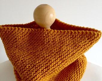 Cowl hand knitted vegan scarf mustard