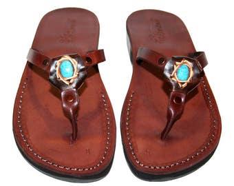 Brown Decor Skinny Leather Sandals For Men & Women - Handmade Unisex Sandals, Flip Flop Sandals, Jesus Sandals, Genuine Leather Sandals