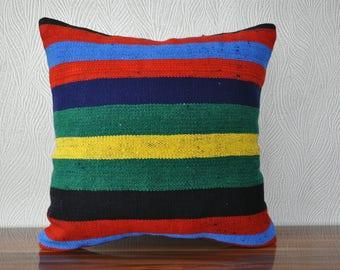 "20""x20"" turkish kilim pillow decorative kilim pillow sofa pillow bedrrom pillow anatolian kilim pillow striped kilim pillow  No 376"