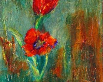 Original Painting Mixed Media Tulip Spring Flower Design on Plaster