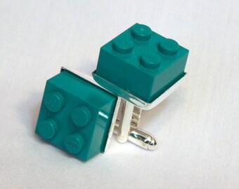 Dark Teal Lego Brick Cuff Links - Silver plated