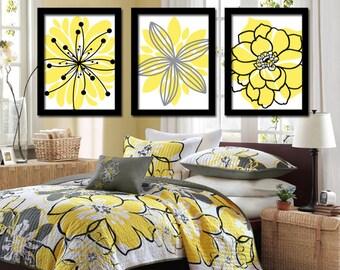 Yellow black wall art flower wall art canvas or prints yellow black wall art bedroom pictures canvas or prints bathroom decor bedroom pictures mightylinksfo
