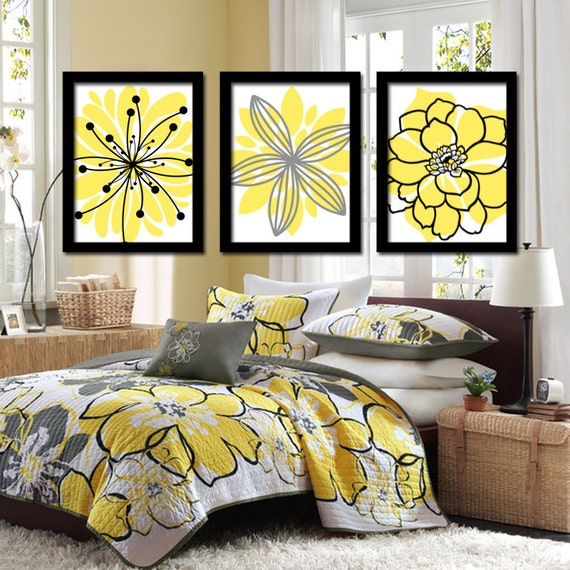 Superbe Yellow Black Flower Wall Art Yellow Black Floral Bedroom