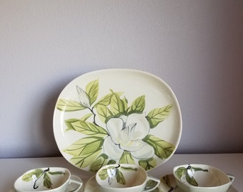 Vintage Red Wing Magnolia Platter and Cups & Saucers Chartreuse And Gray 1940's - 1950's