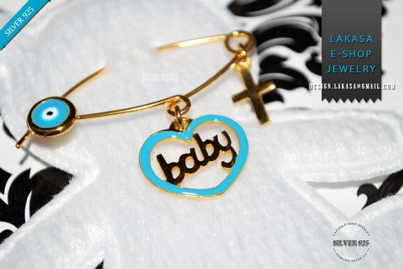 Blue Enamel Heart Baby Boy Brooch Sterling Silver Gold Handmade Jewelry Cross Eye Christening Mommy HappyShowerDay Religious Baptism Newborn