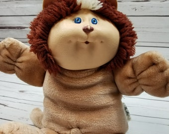 Cabbage Patch Kids Koosas Doll 14in Brown Cat 1983 Vintage Yarn Hair Lion CPK