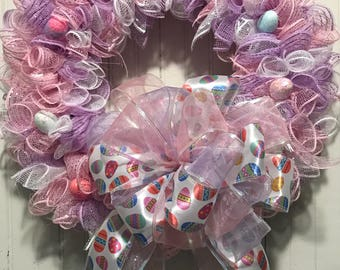 Easter wreath, pastel wreath, egg wreath, holiday wreath, homemade wreath, pink purple and white wreath, large bow wreath, Easter Holiday
