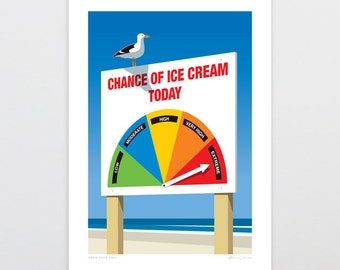 Chance Of Ice Cream Art Print