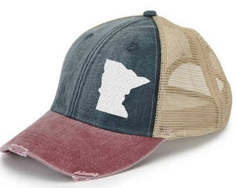 Minnesota Hat - Distressed Snapback Trucker Hat - off-center state pride hat - Pick your colors