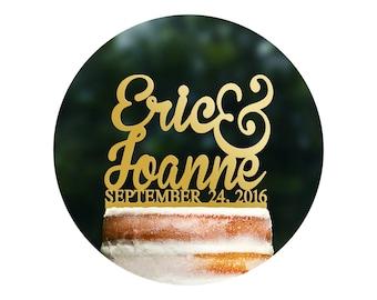 First Name Custom Cake Topper Gold Wedding Glitter Cake Topper Gold Cake Topper Monogram Cake Topper Acrylic Cake Topper Wedding  - (T004)