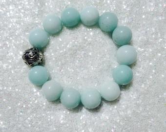 Mint Blue Jade Silver Stretch Bracelet