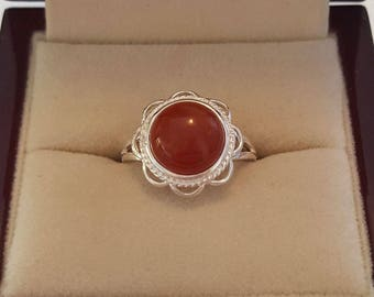 Sterling Ring ~ Sterling Silver Red Agate Ring Size 6 3/4