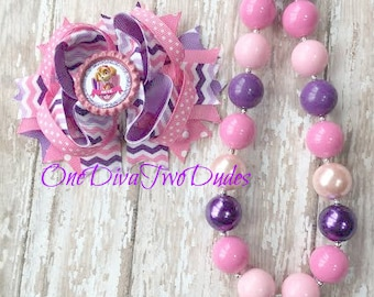 Skye Paw Patrol inspired chunky necklace pink purple stacked hair bow