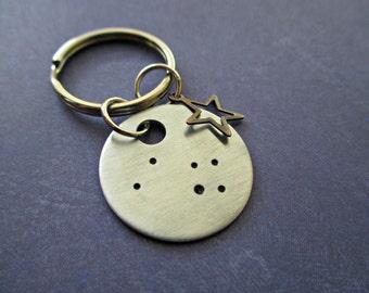 taurus constellation - hand stamped zodiac keychain with bronze star charm
