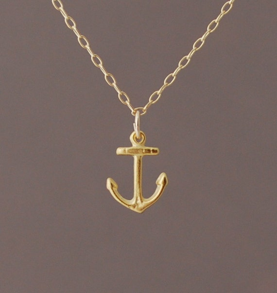Gold tiny anchor necklace also available in silver aloadofball