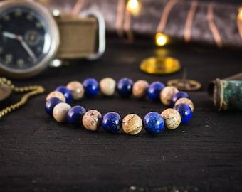8mm - Blue Lapis Lazuli & brown jasper stone beaded stretchy bracelet, mens bracelet, womens bracelet, made to order gemstone bracelet