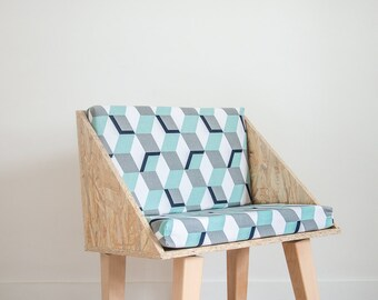 OSB Chair with geometric patterns