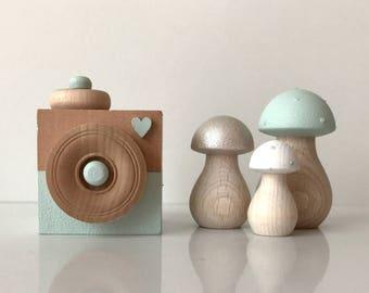 Scandinavian Nursery Decor . Mint Nursery Decor . Woodland Nursery Decor . Wooden Toadstools . Wooden Nursery Decor . Scandinavian . Mushroo