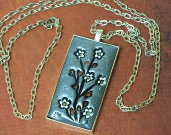 Flowering Cherry Blossom Tree Japanese Asian Inspired Pendant Necklace, Metallic Silver, Black, White, Dark Copper Polymer Clay Jewelry