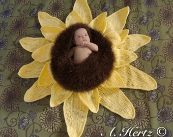 Crochet Sunflower Baby Bowl - Cocoon Photography Prop - Newborn - PATTERN ONLY