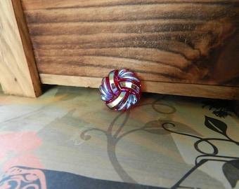 "27mm Red Twist Czech Glass Button, Iridescent Highlights on Clear Red Glass, Size 12, 27 mm, 1 1/16"", Glass Shank Back"