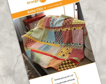 """Printed quilt pattern - """"Boho Chic"""" - Easy & fun quilt using precuts - Layer Cake squares, Jelly Roll strips - 64""""x70"""" - more sizes offered"""